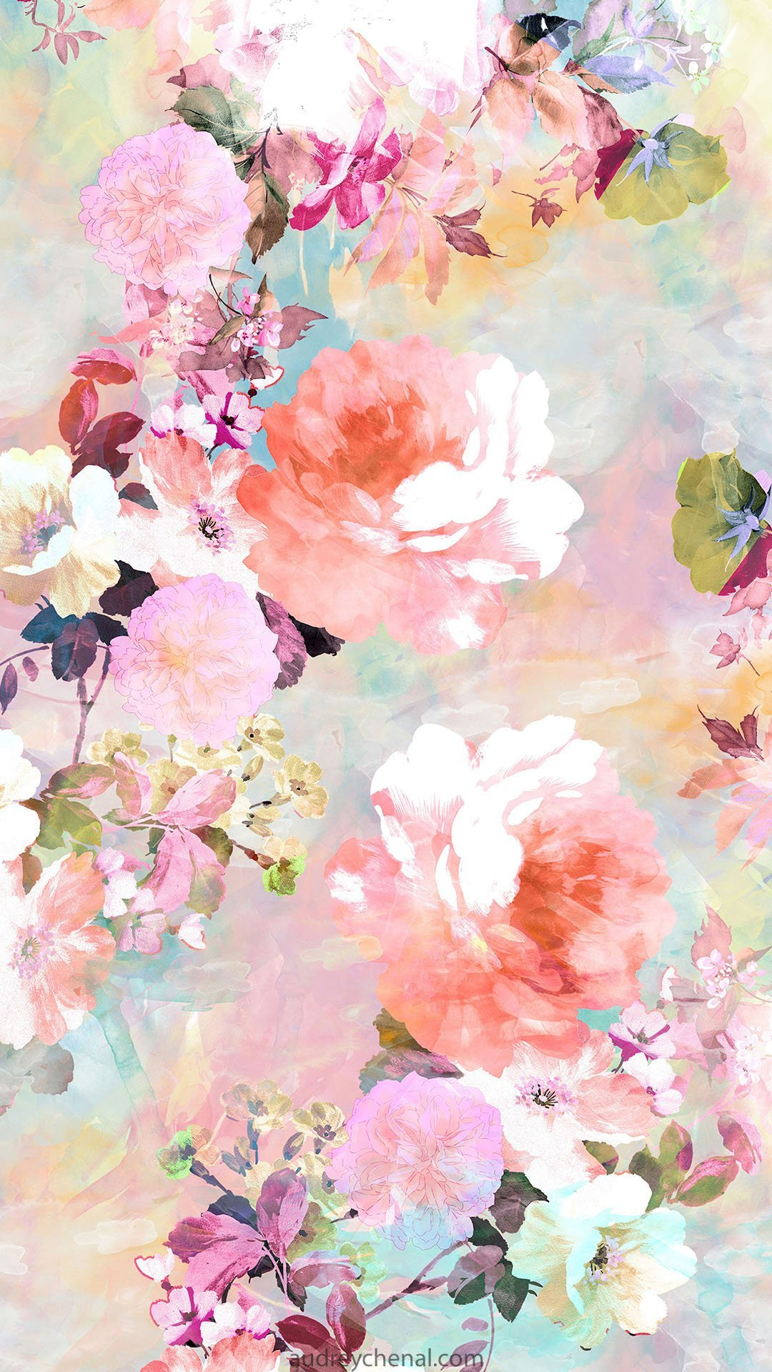 Floral Watercolor Pastel Pattern By Audrey Chenal Web Audrey Chenal
