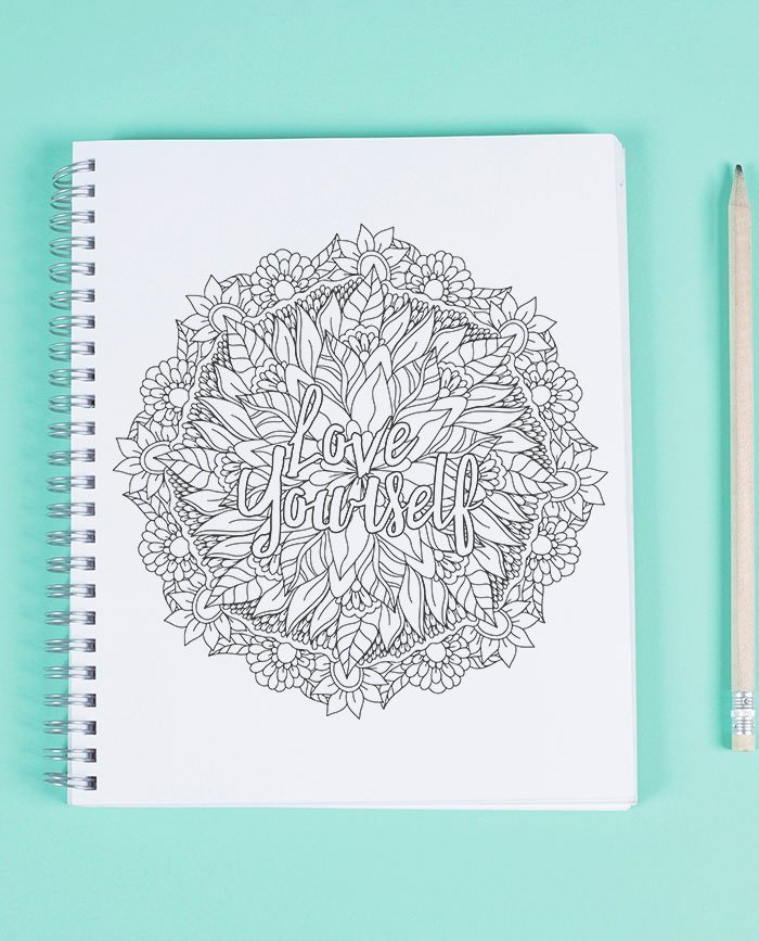 FREE Love yourself floral mandala Adult Coloring Page ...