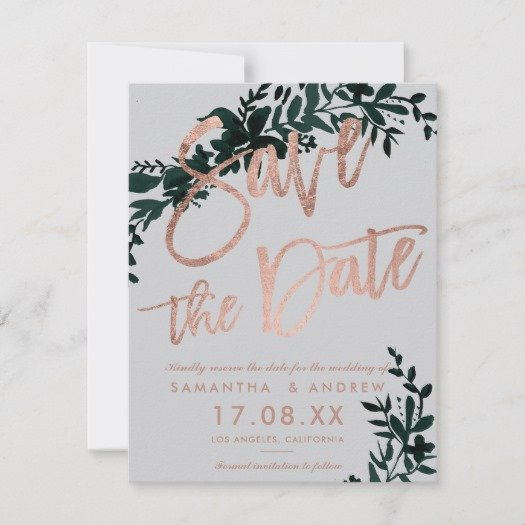 Rose gold script Floral green grey save the date