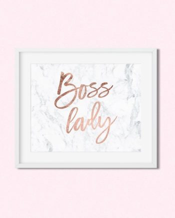 FREE printable modern rose gold boss lady typography on white marble Instant Digital Download