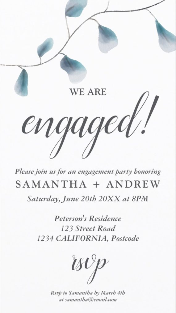 Modern chic blue watercolor leaf engagement party e invite preview