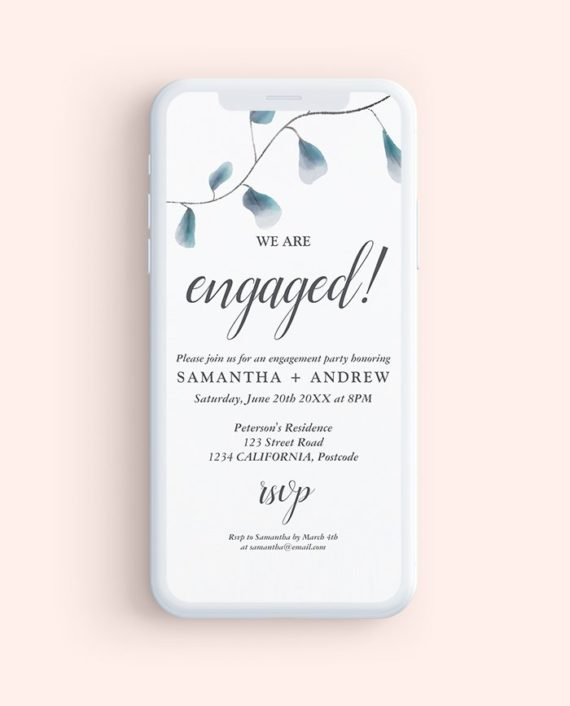 Modern chic blue watercolor leaf engagement party mock up
