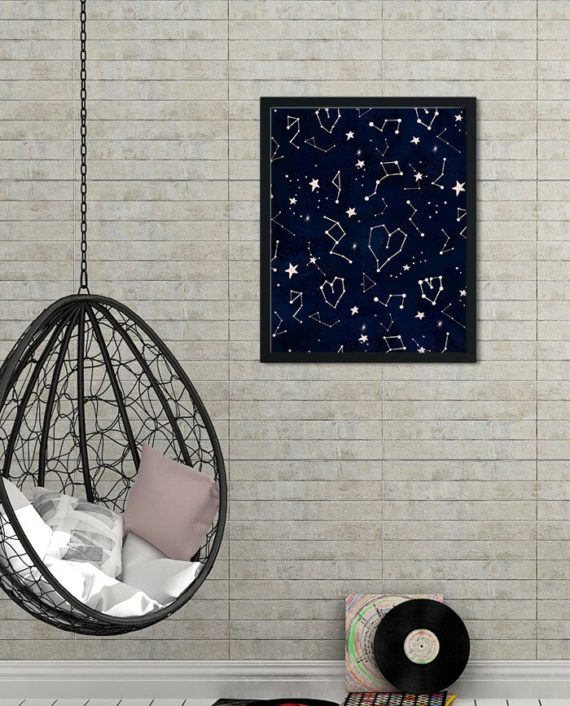 Modern rose gold constellation universe pattern navy blue watercolor 2