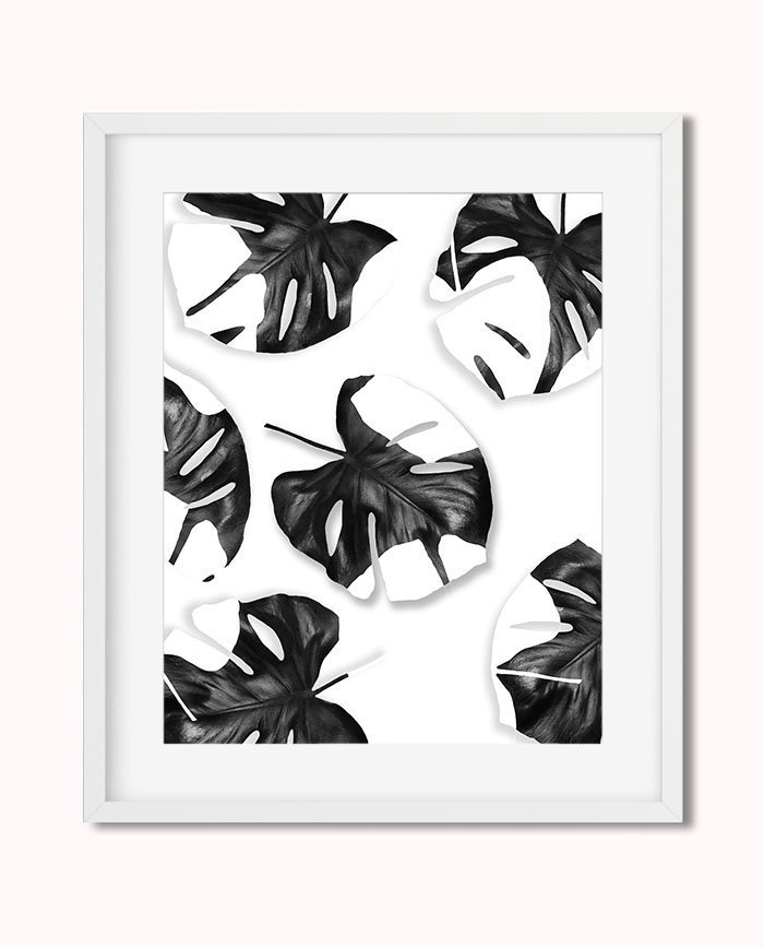 Printable Tropical Monstera Leaves Black White Photography Wall Art Decor Slow tutorial videos of tropical leaves coming soon! printable tropical monstera leaves black white photography wall art decor