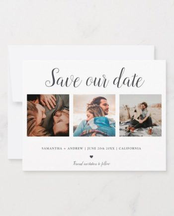 Printable Save the date typography trendy upload your photo announcement