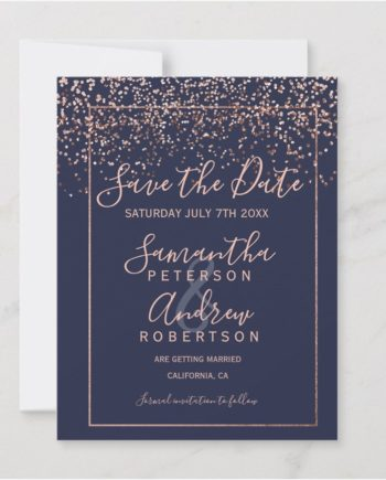 Rose gold confetti navy blue script save the date