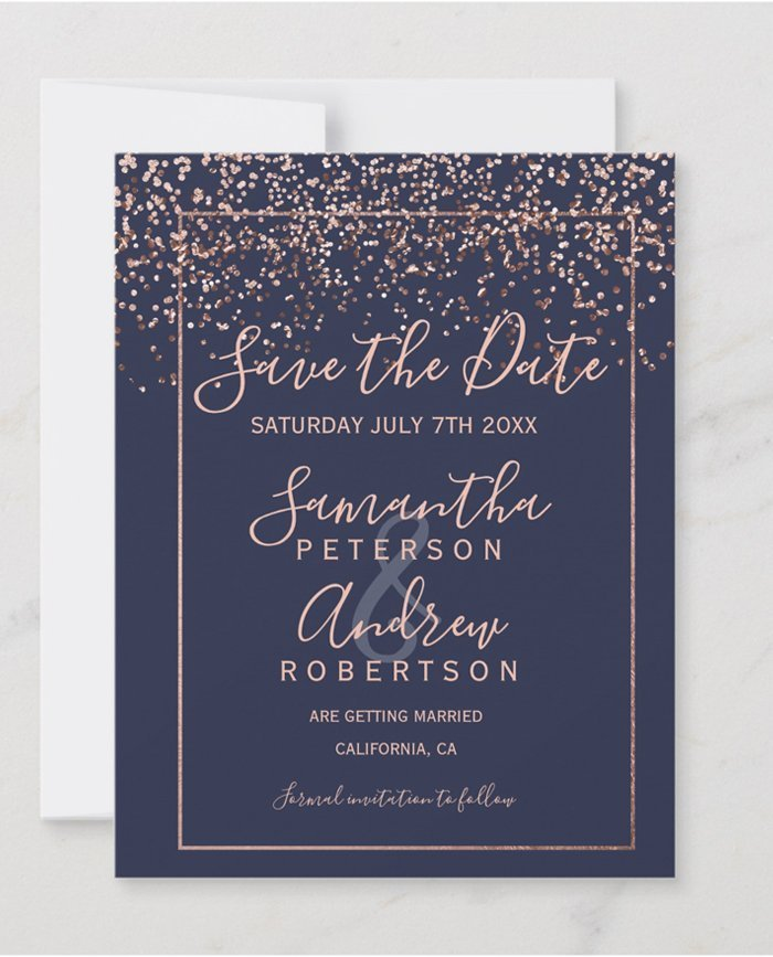 photo about Printable Save the Date named Rose gold confetti army blue script printable help save the day wedding day