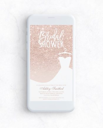Rose gold glitter elegant chic dress Bridal shower mockup