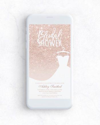 Rose gold glitter elegant chic dress Bridal shower mockup