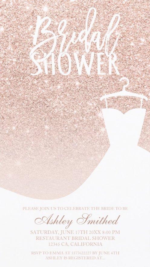 Rose gold glitter elegant chic dress Bridal shower view