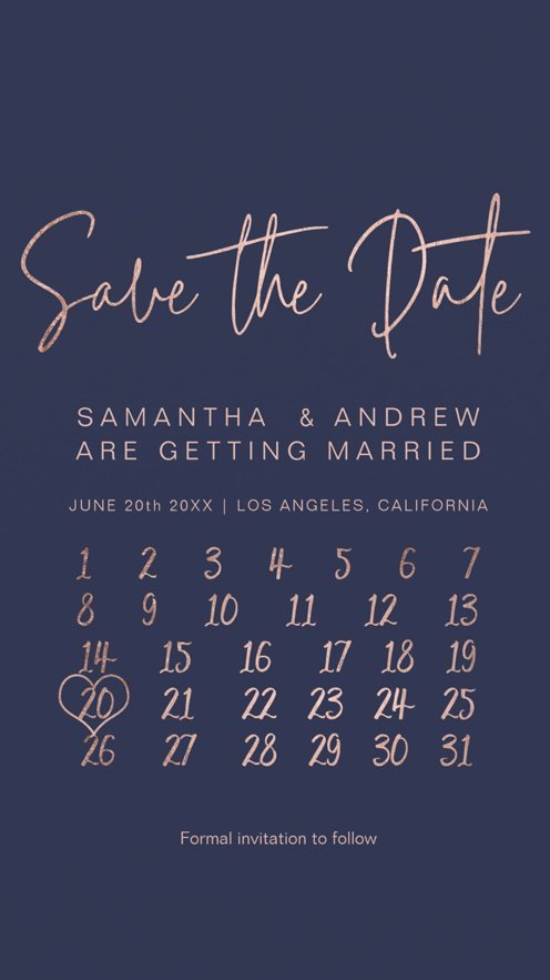 Rose gold navy blue calendar save the date announcement