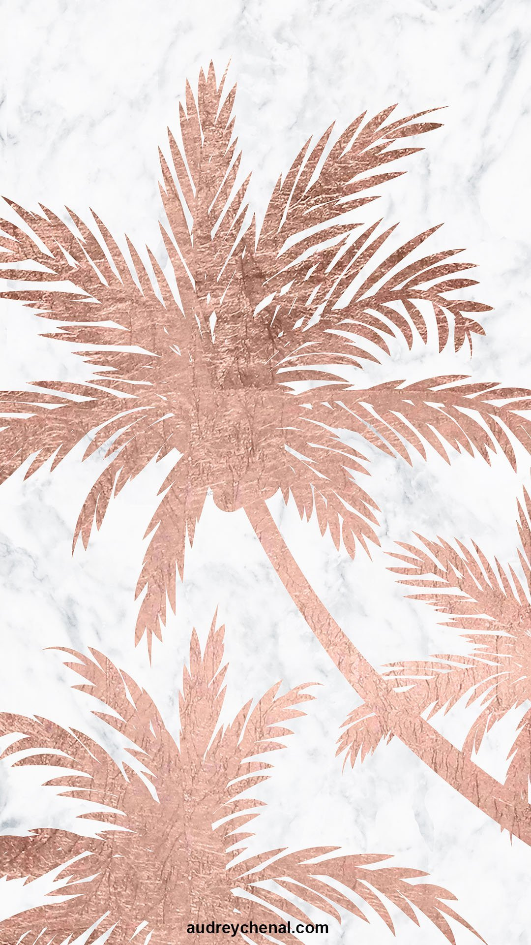 Tropical simple rose gold palm trees white marble by Audrey Chenal