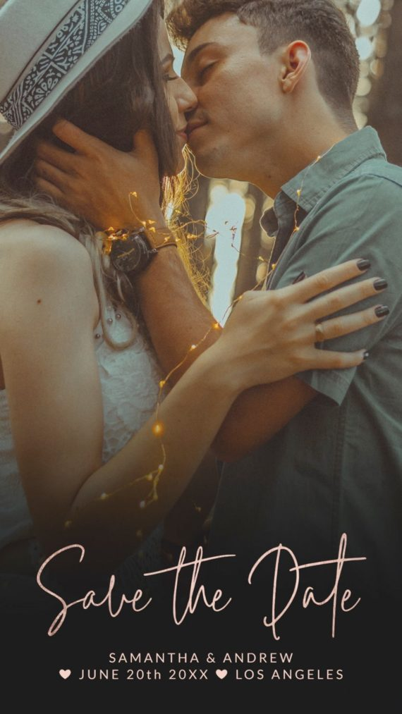 Summer rose gold save the date upload your photo announcement mockup