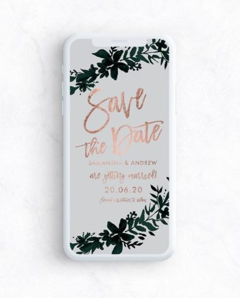 e invite save the date preview rose gold