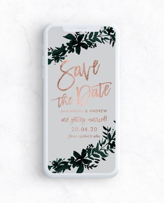 e invite save the date preview rose gold