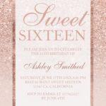 E Invite Sms Rose Gold Glitter Elegant Sweet 16 Birthday Party