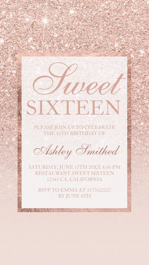 rose gold glitter elegant chic Sweet 16 preview