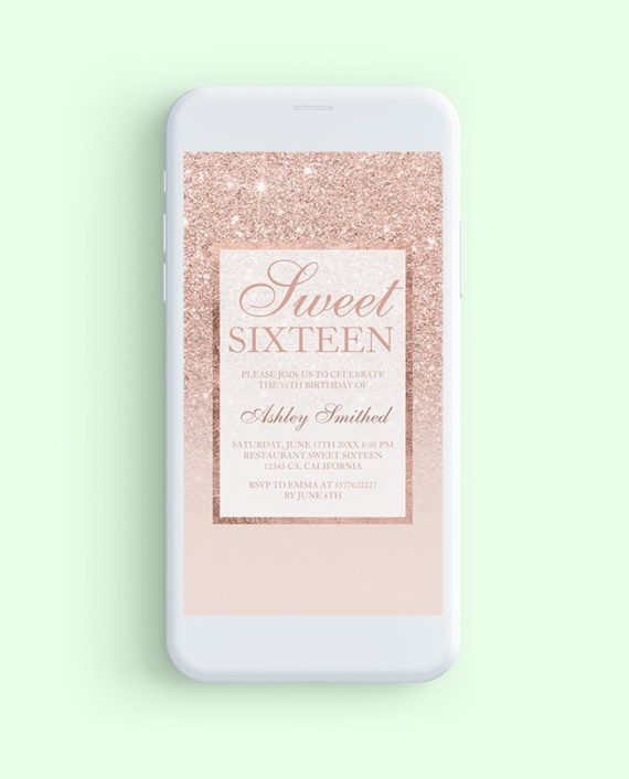 rose gold glitter elegant chic Sweet 16 mockup