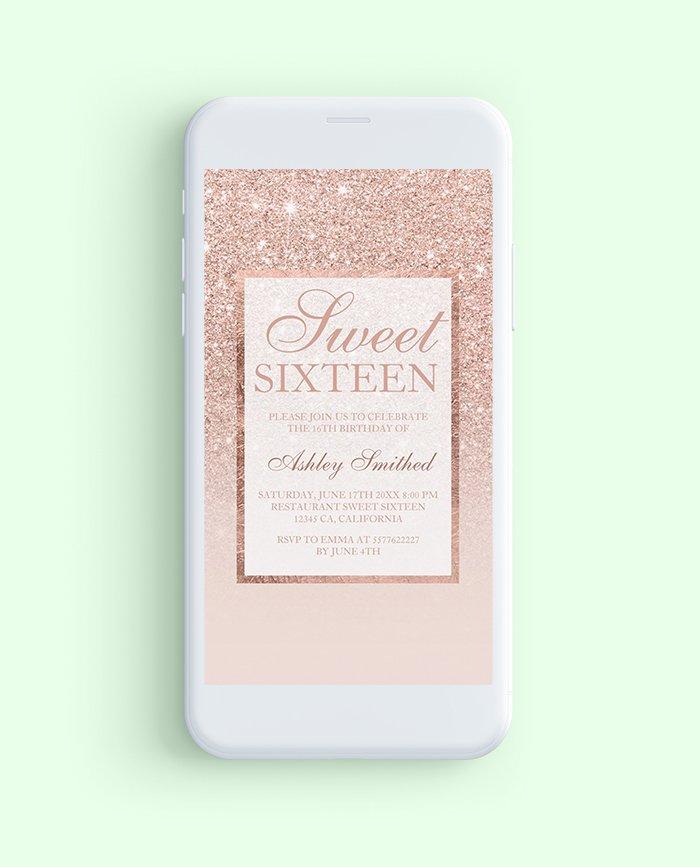 E-Invite SMS Rose Gold Glitter Elegant Sweet 16 Birthday