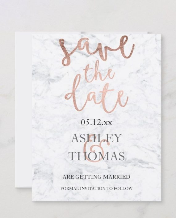 save the date faux rose gold script white marble wedding