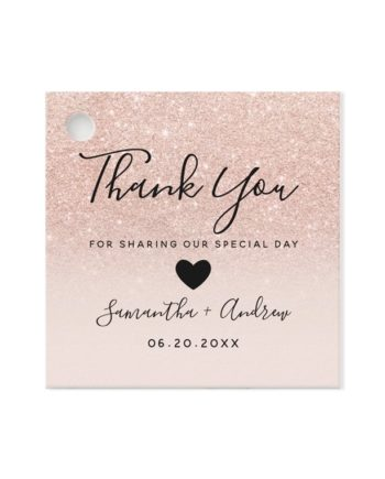 wedding favor tag rose gold glitter preview