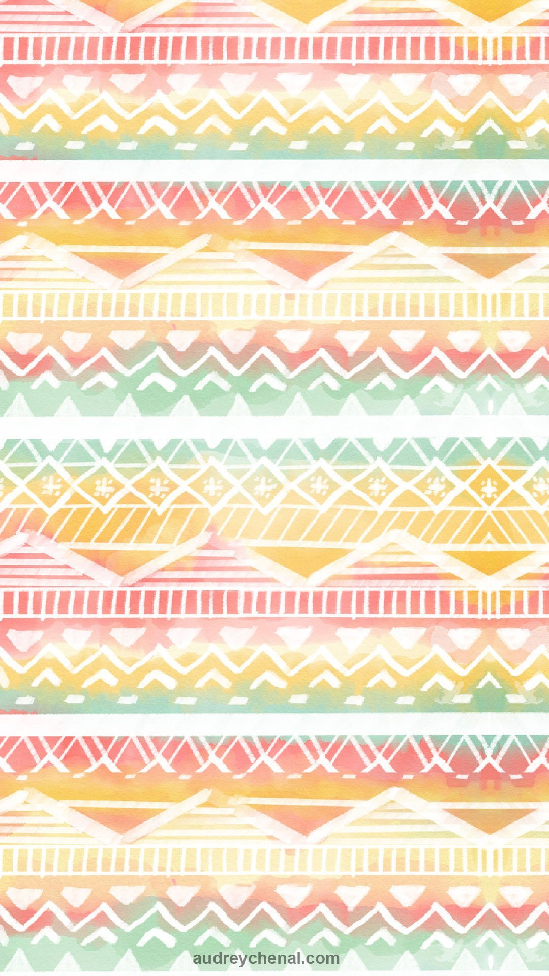 white modern handdrawn aztec pattern beach pink blue yellow watercolor paint by Audrey Chenal