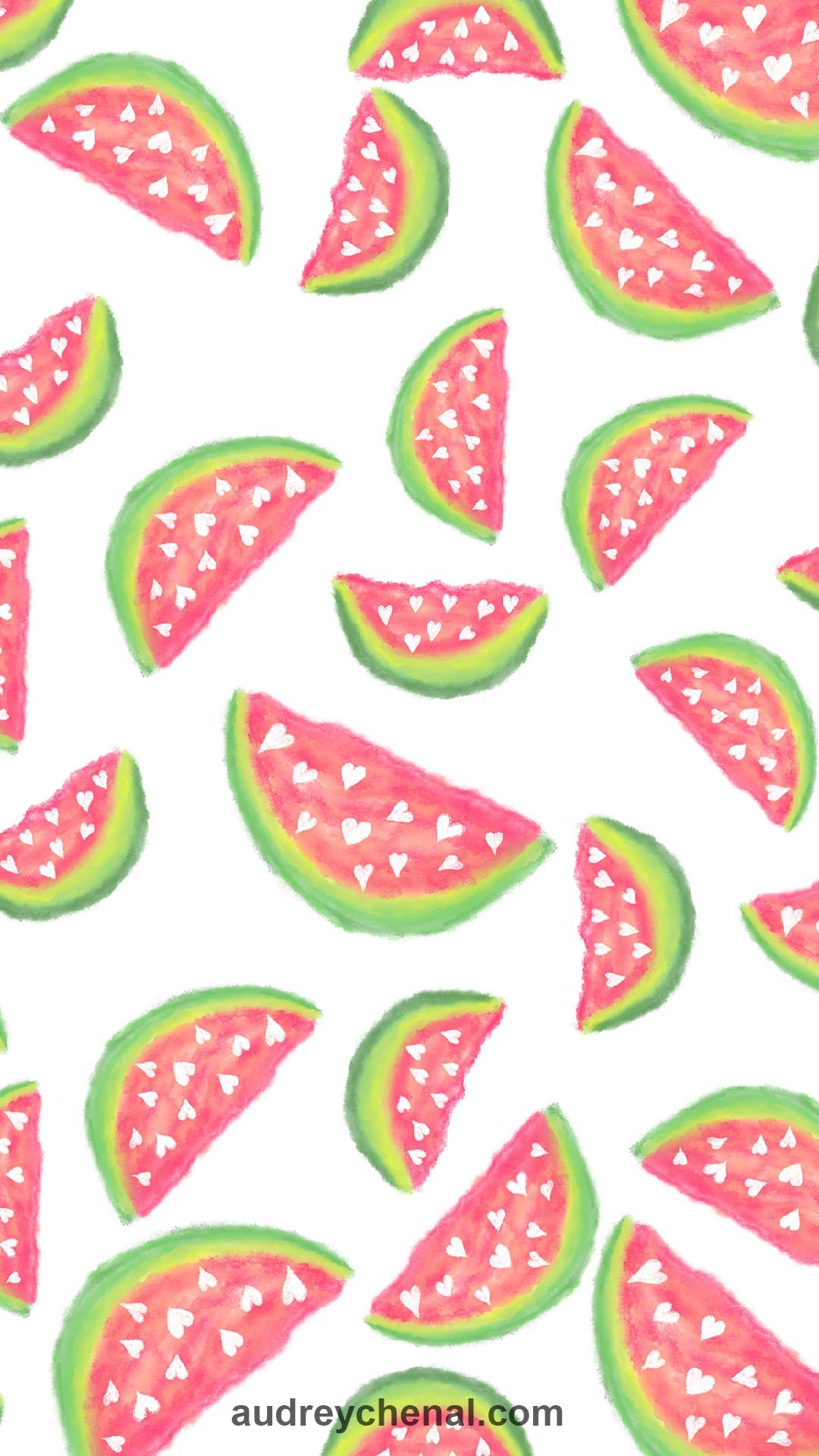 Summer hand painted pink teal watercolor watermelons fruits and hearts pattern wallpaper by Audrey Chenal