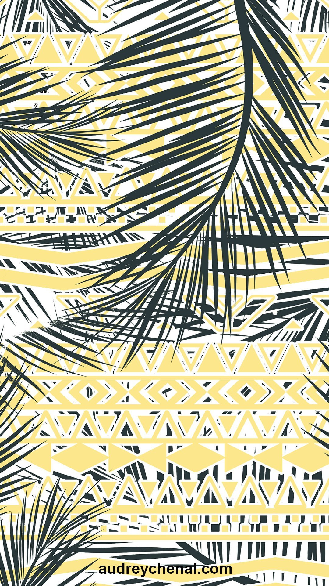 Yellow geometric aztec exotic palm tree leaf pattern wallpaper by Audrey Chenal
