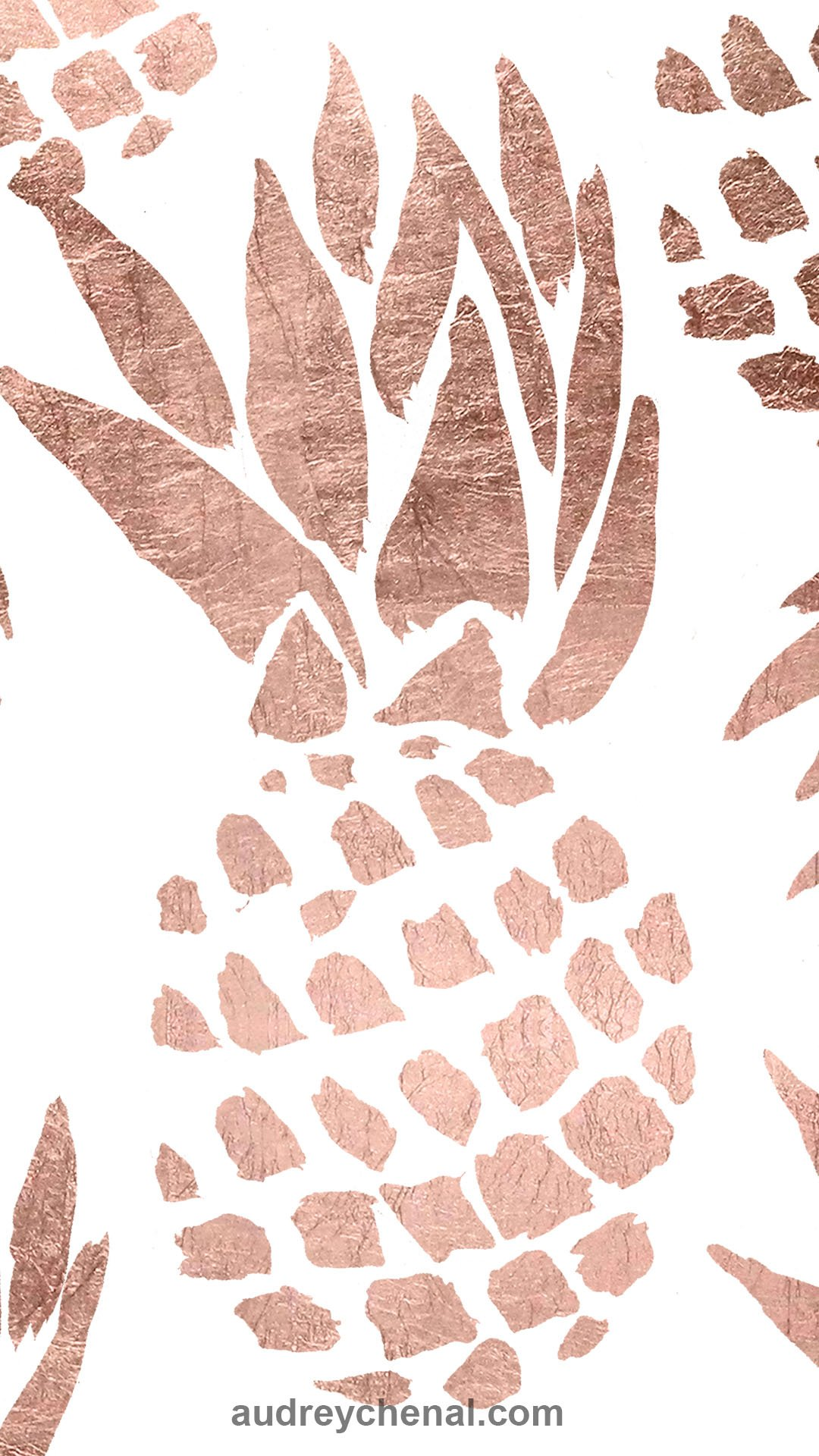 rose gold handdrawn pineapple free wallpaper by Audrey Chenal