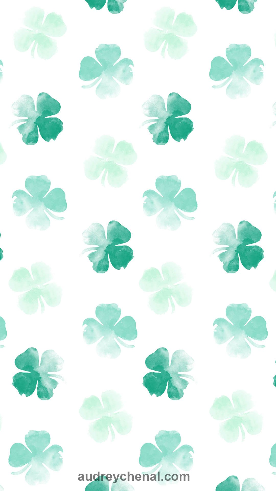 st patrick lucky green watercolor shamrock clovers free wallpaper by Audrey Chenal