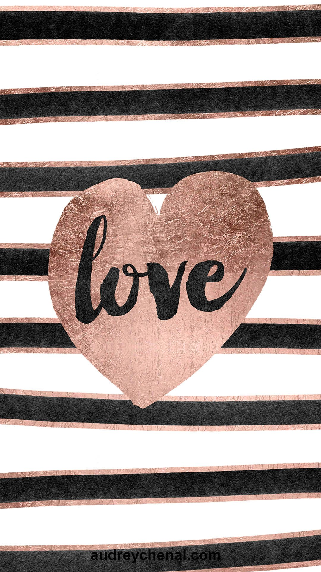 valentines love brush typography rose gold hearts black hand drawn watercolor stripes free wallpaper by Audrey Chenal