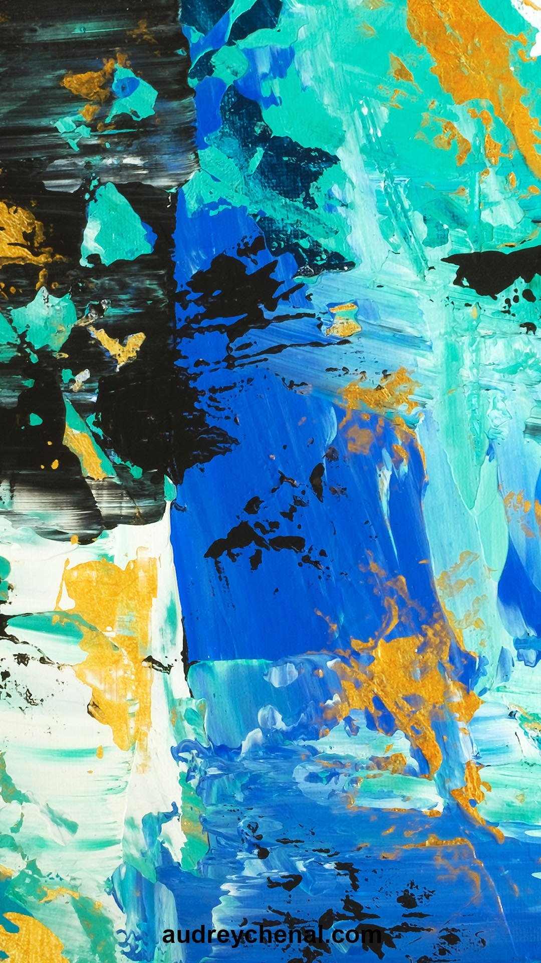 wallpaper Don't lose your present to your past Abstract blue turquoise gold brushstrokes original acrylic painting by Audrey Chenal
