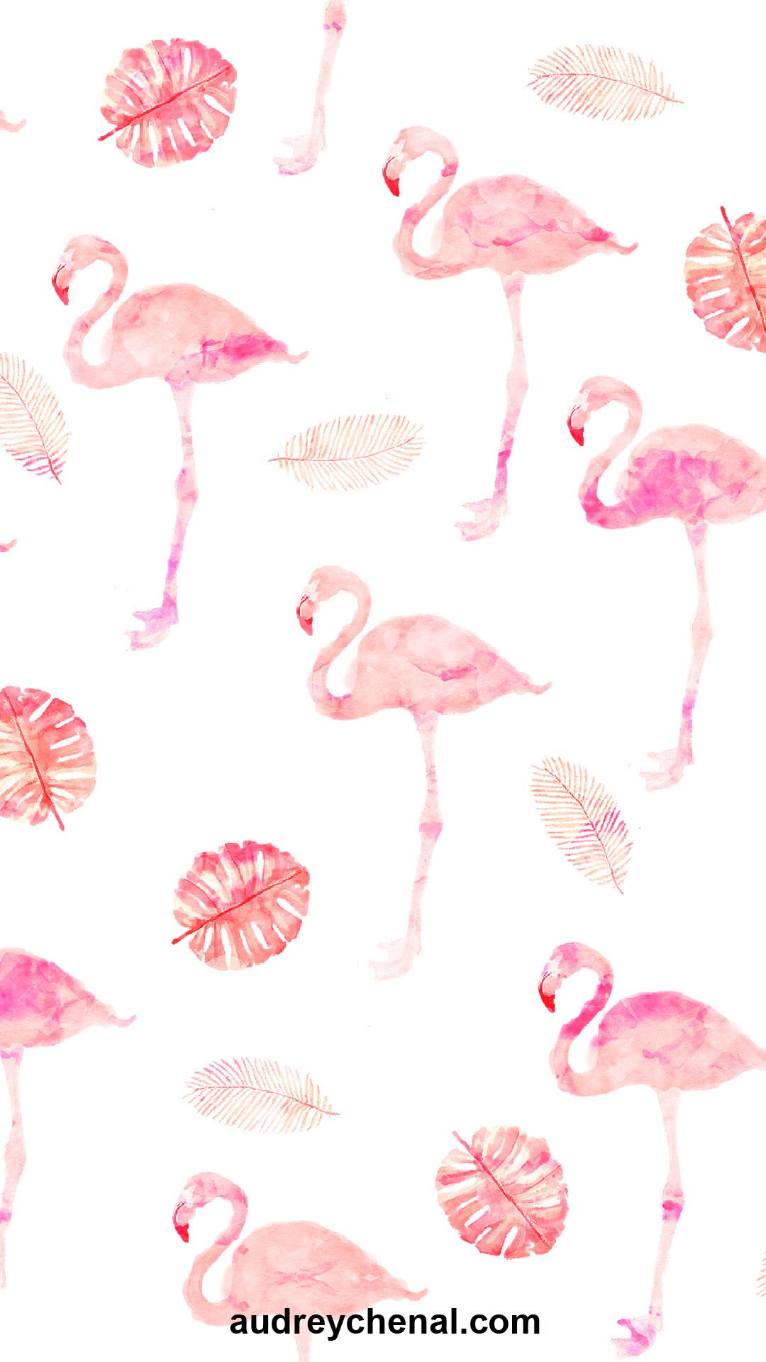 wallpaper Modern hand painted pink watercolor flamingo tropical leaf pattern by Audrey Chenal
