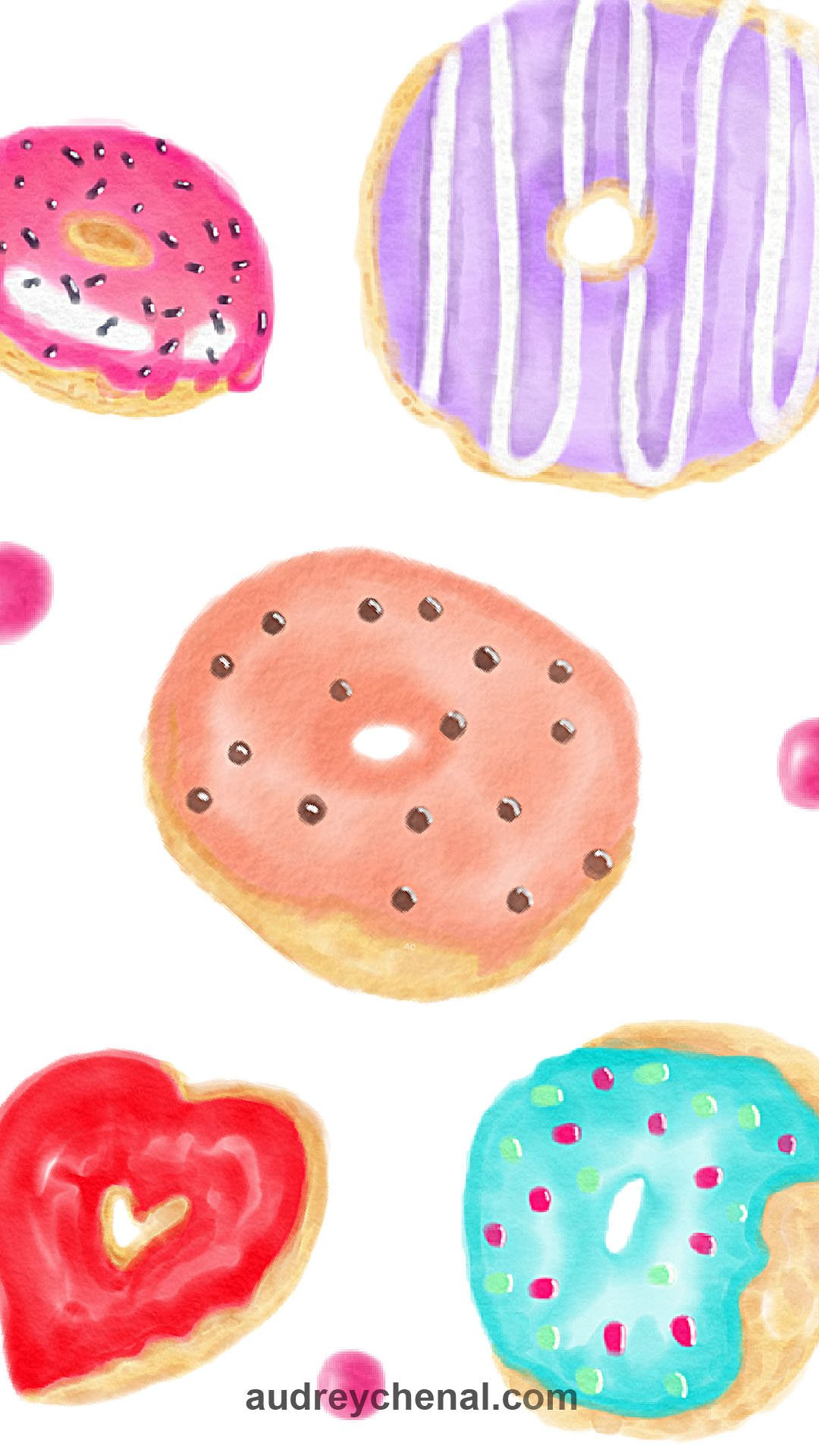 wallpaper Modern hand painted watercolor trendy colorful big donuts food hearts and dots pattern by Audrey Chenal
