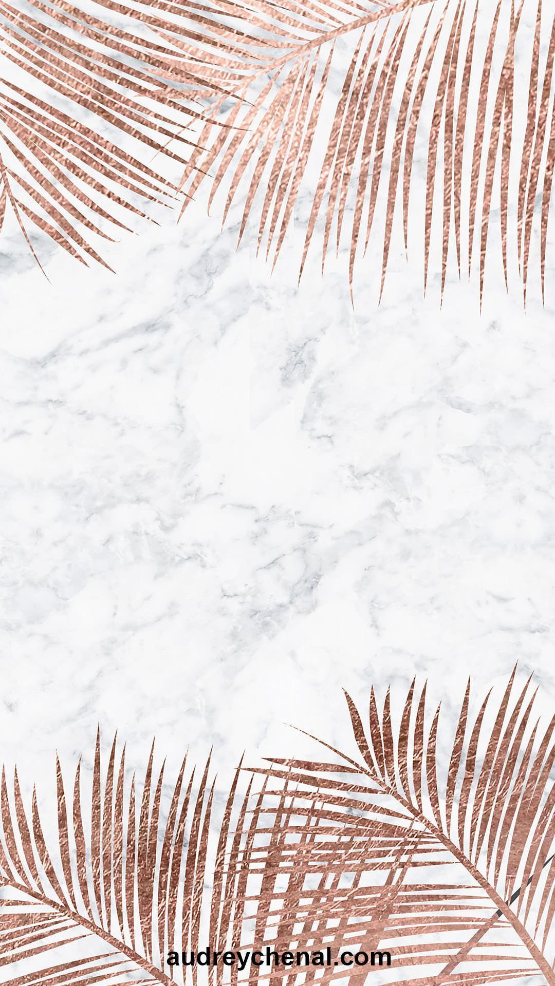 wallpaper Modern rose gold palm tree white marble by Audrey Chenal