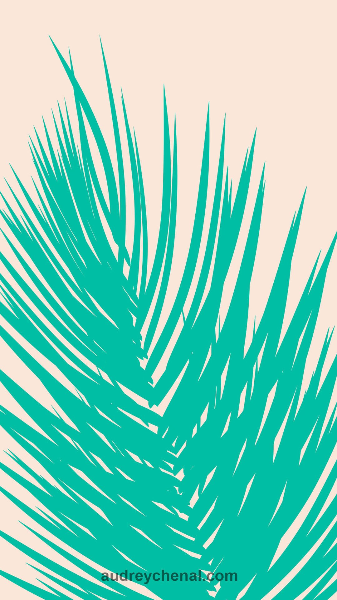 wallpaper Modern summer turquoise palm tree leaves on blush pink by Audrey Chenal