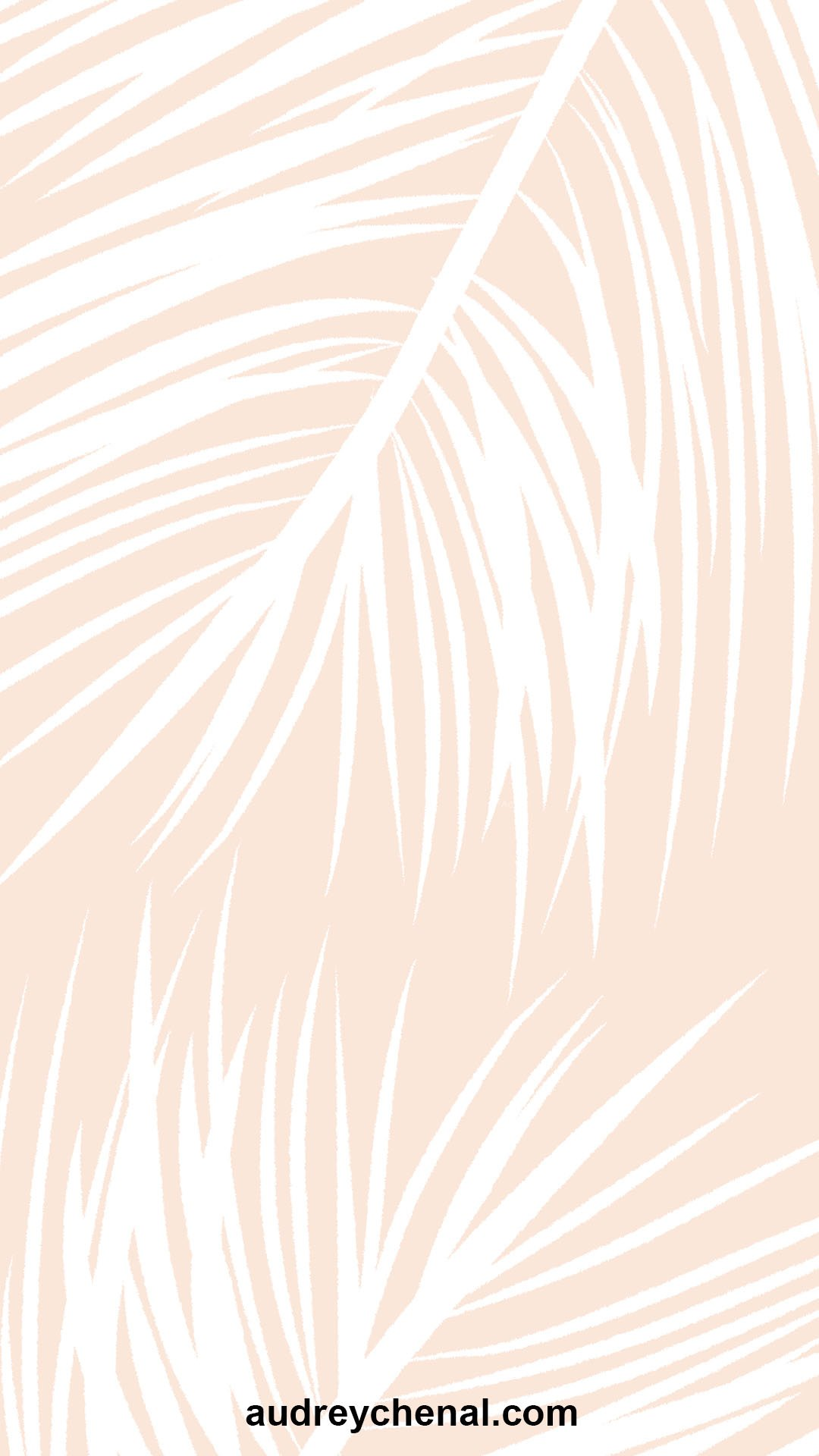 wallpaper Modern summer white palm tree leaves on blush pink by audrey Chenal