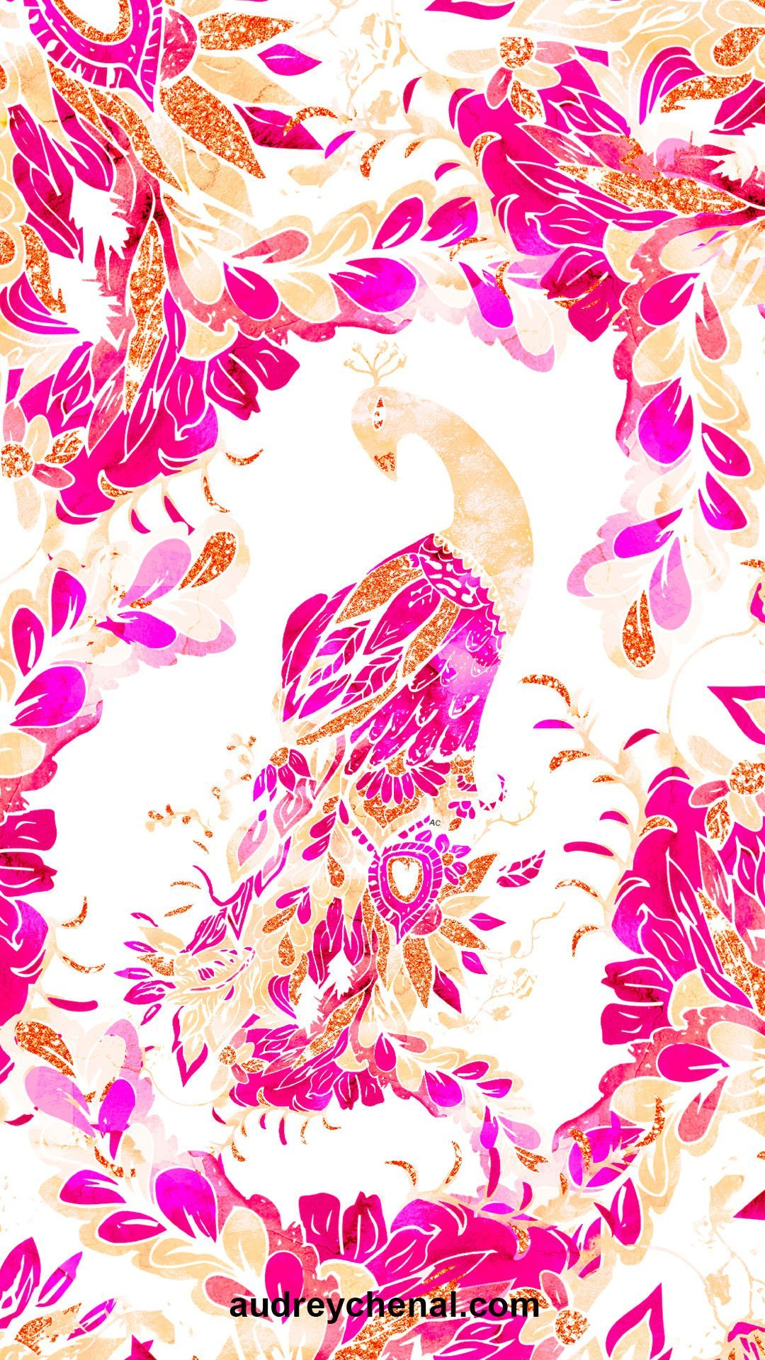 wallpaper Red pink coral hand drawn floral peacock by Audrey Chenal