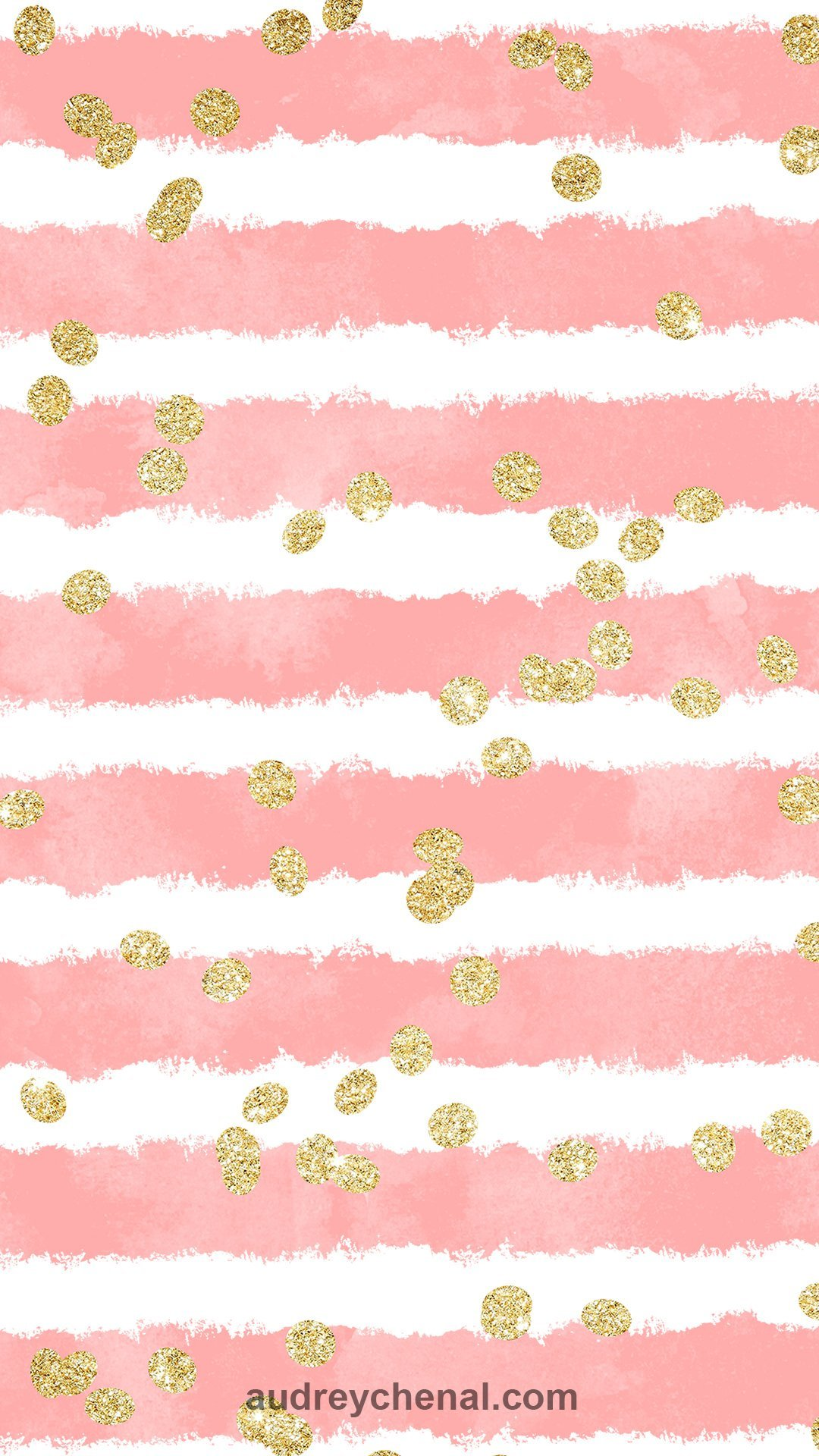 wallpaper blush pink watercolor stripes gold glitter confetti pattern by Audrey Chenal