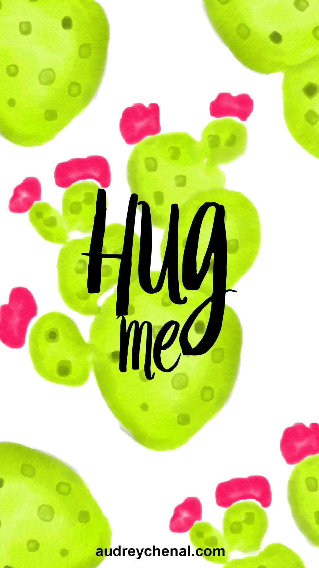 wallpaper cactus hug me by Audrey Chenal