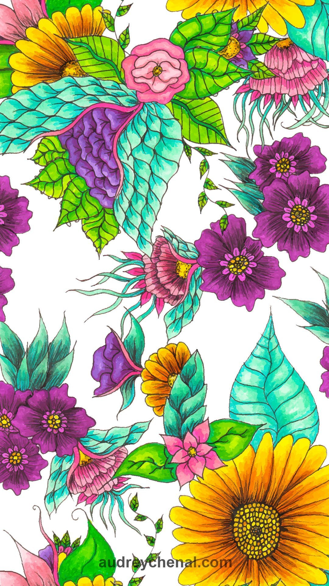 wallpaper colorful watercolor flowers floral hand drawn illustration by Audrey Chenal