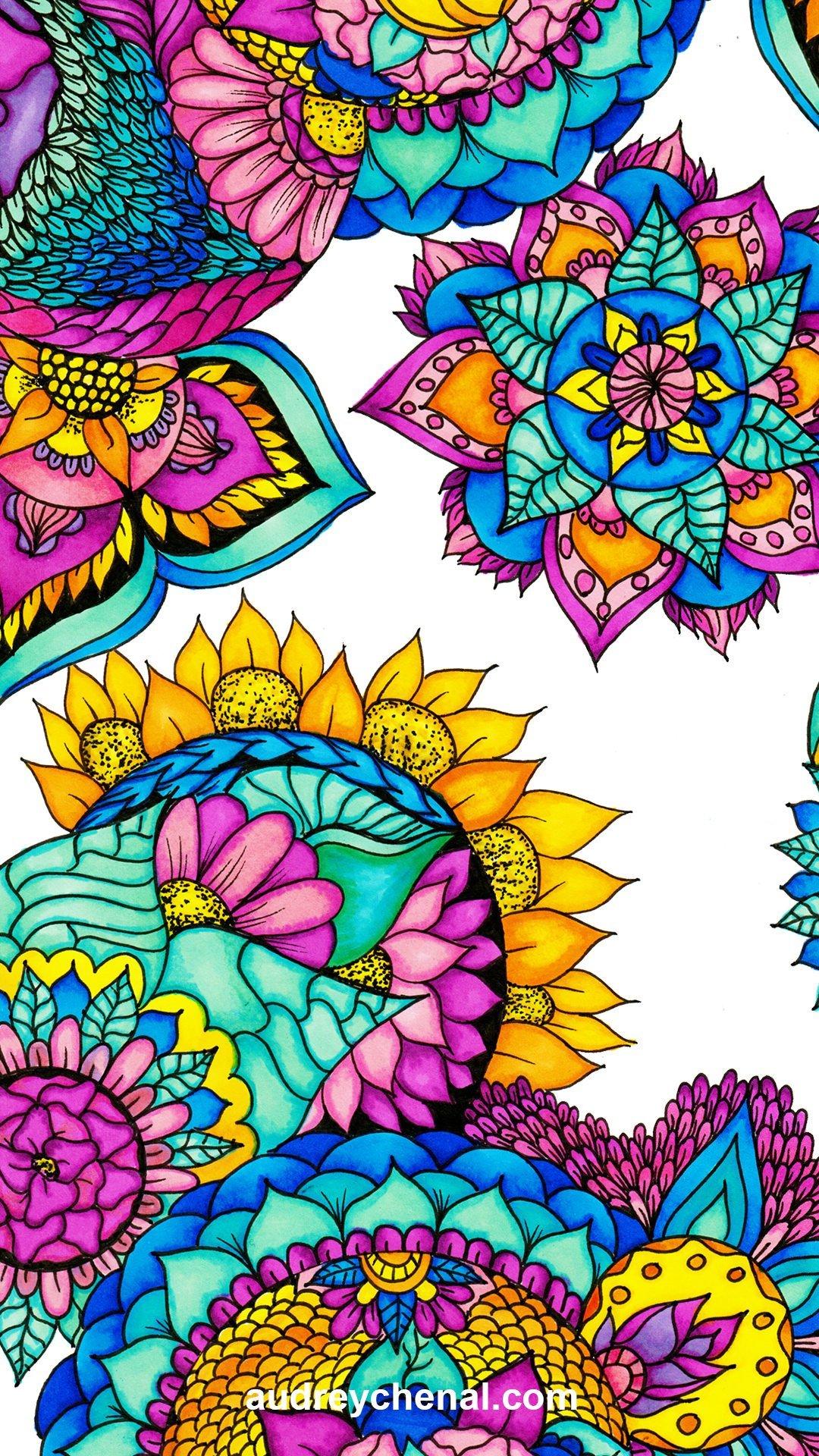 wallpaper handdrawn floral bright watercolor mandala illustration by Audrey Chenal