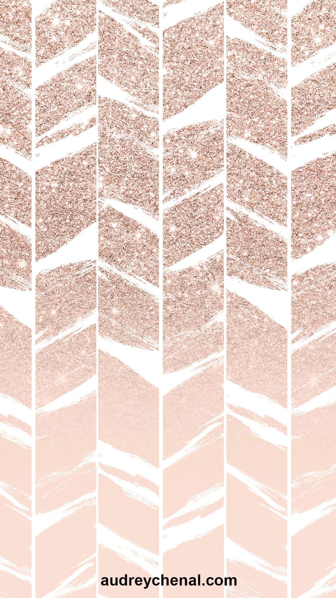 wallpaper pink glitter blush pastel pink ombre chevron herringbone pattern by Audrey Chenal