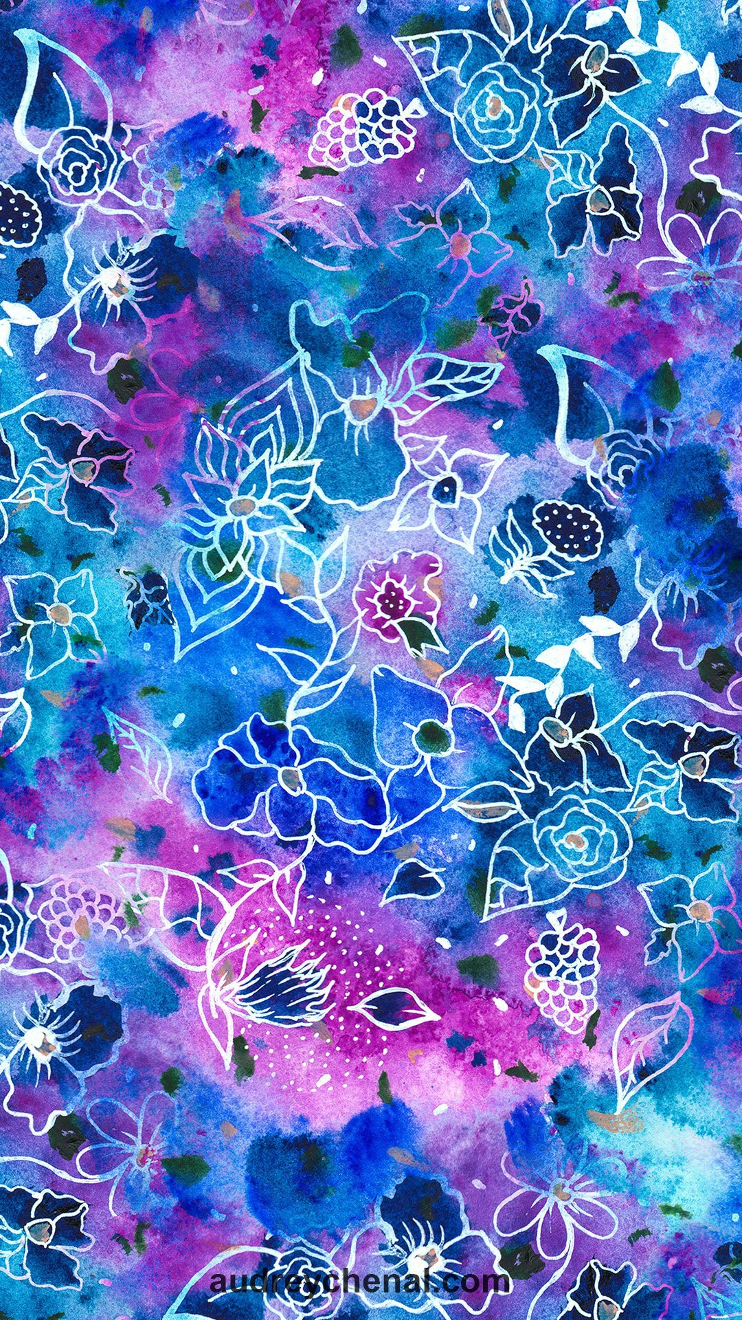 white handdrawn flowers blue watercolor paintfree wallpaper by Audrey Chenal