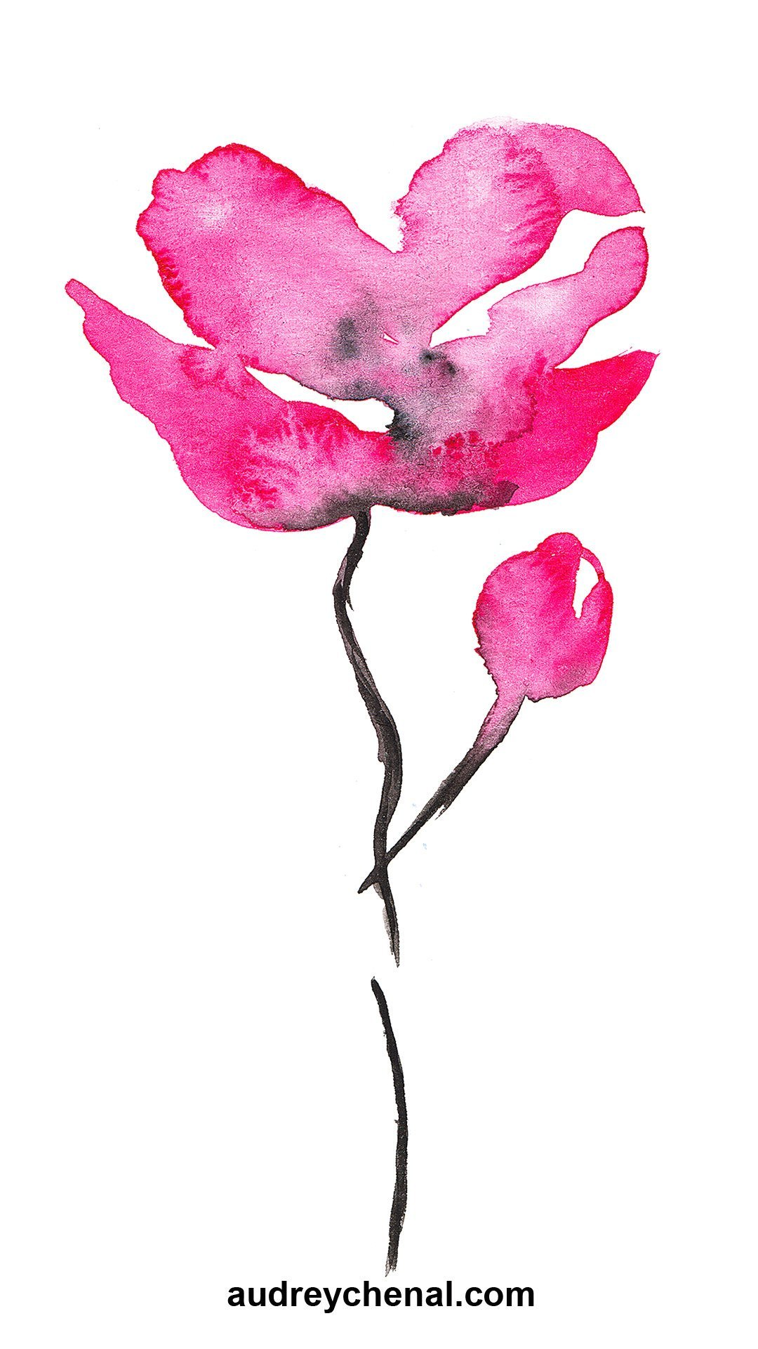 Modern black pink watercolor abstract hand painted flower wallpaper by Audrey Chenal