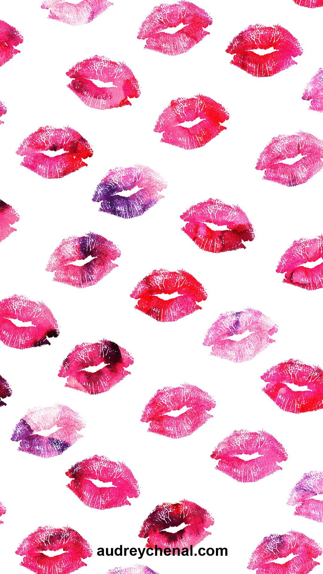wallpaper Pink purple watercolor kiss lips pattern by Audrey Chenal