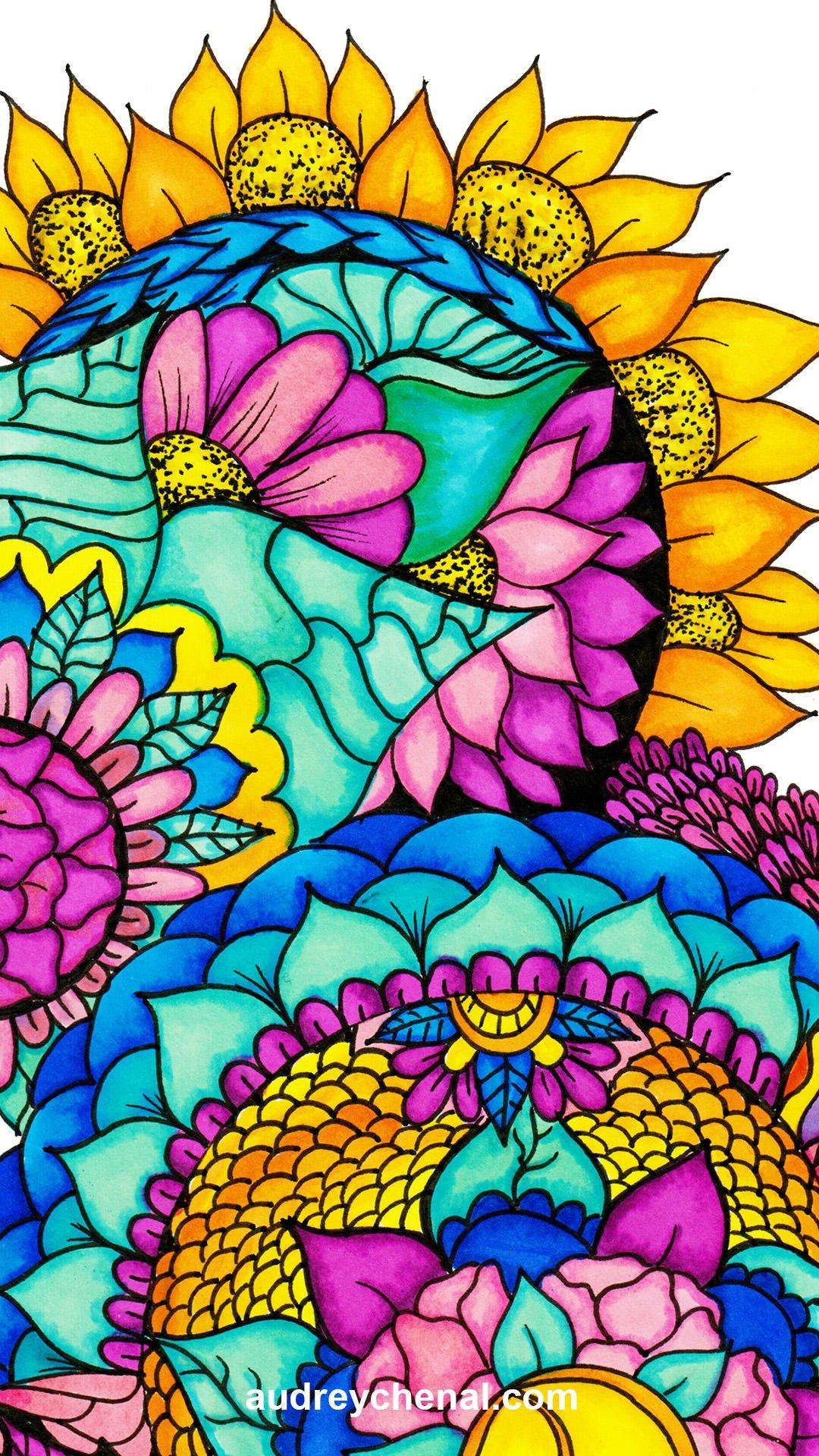 wallpaper handdrwn floral bright watercolor mandala illustration by Audrey Chenal