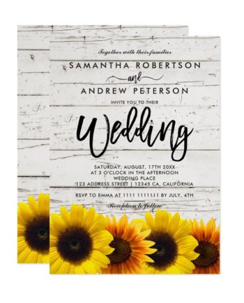 Barn wood sunflowers typography rustic wedding printable invitation