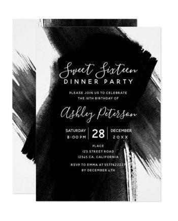 Black white brushstrokes typography Sweet 16 Invitation preview
