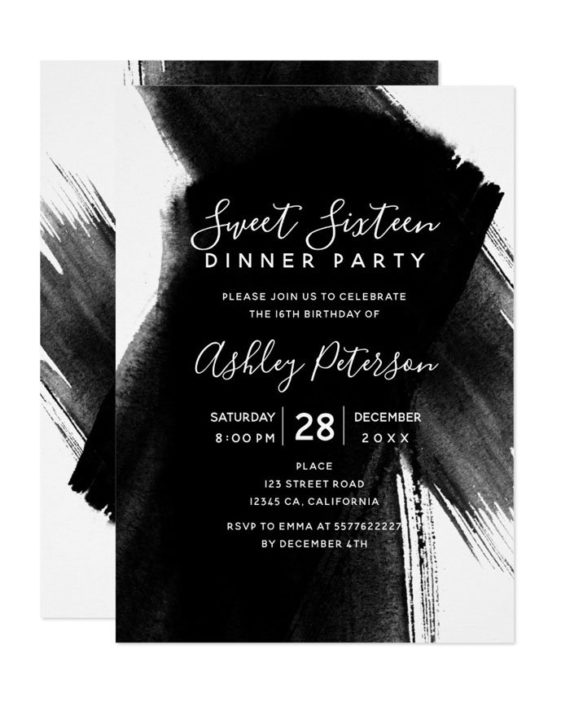 Black white brushstrokes typography Sweet 16 Invitation preview